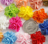 HOT PINK 16mm Fancy Textured Flower Bouquet Cabochons - WhimsyandPOP