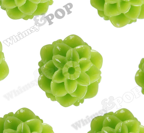 GREEN APPLE 10mm Honeycomb Mum Dahlia Flower Cabochons - WhimsyandPOP