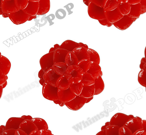 RED 10mm Honeycomb Mum Dahlia Flower Cabochons - WhimsyandPOP