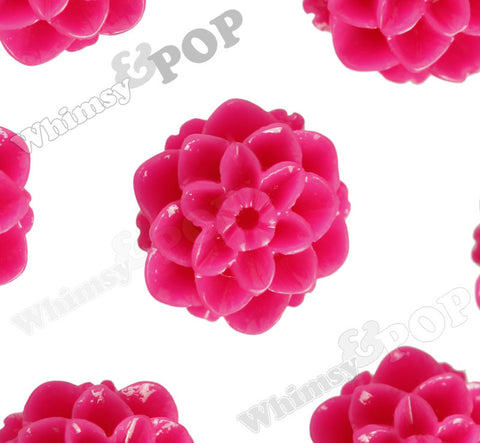 HOT PINK 10mm Honeycomb Mum Dahlia Flower Cabochons - WhimsyandPOP