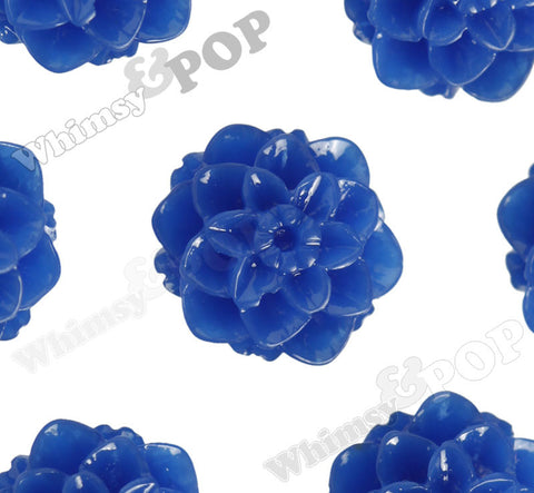 ROYAL BLUE 10mm Honeycomb Mum Dahlia Flower Cabochons - WhimsyandPOP