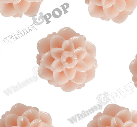 SHABBY CHIC PEACH 10mm Honeycomb Mum Dahlia Flower Cabochons