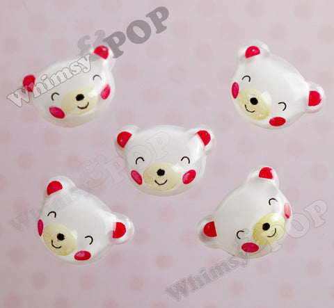 White Squinty Eye Bear Cabochons - WhimsyandPOP