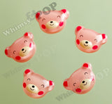 Pink Squinty Eye Bear Cabochons