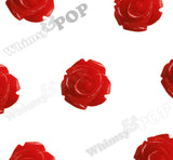 RED 15mm Open Bud Rose Flower Cabochons
