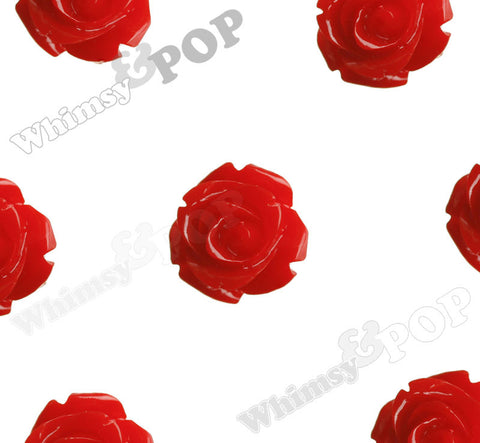 RED 15mm Open Bud Rose Flower Cabochons - WhimsyandPOP
