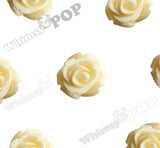 BUTTERCREAM YELLOW 15mm Open Bud Rose Flower Cabochons - WhimsyandPOP