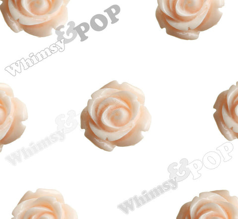 PEACH 15mm Open Bud Rose Flower Cabochons