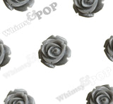 GRAY 15mm Open Bud Rose Flower Cabochons - WhimsyandPOP
