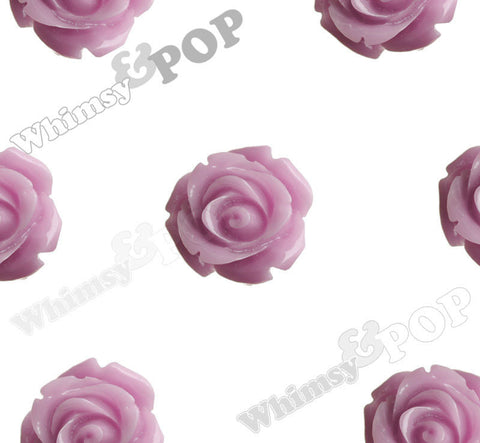 LILAC PURPLE 15mm Open Bud Rose Flower Cabochons - WhimsyandPOP