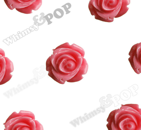 BUBBLEGUM PINK 15mm Open Bud Rose Flower Cabochons - WhimsyandPOP