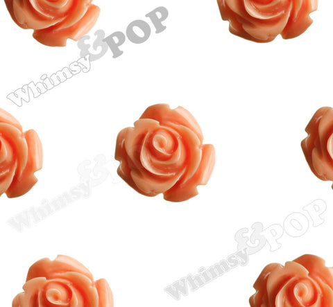 CORAL ORANGE 15mm Open Bud Rose Flower Cabochons - WhimsyandPOP