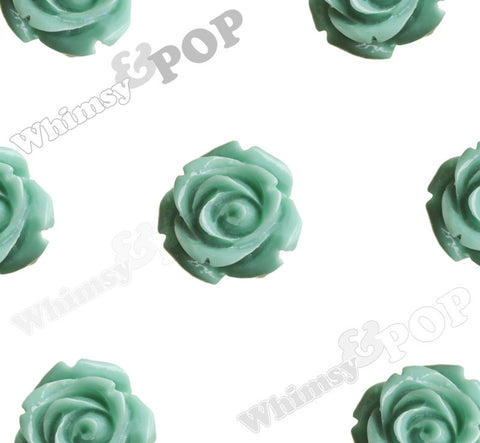 SEA GREEN 15mm Open Bud Rose Flower Cabochons - WhimsyandPOP