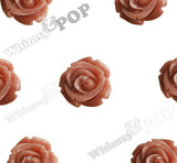 RUST ORANGE 15mm Open Bud Rose Flower Cabochons - WhimsyandPOP