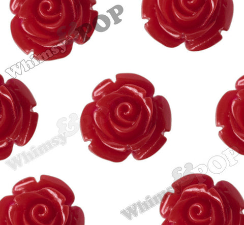 RED 12mm Rose Bud Flower Beads - WhimsyandPOP