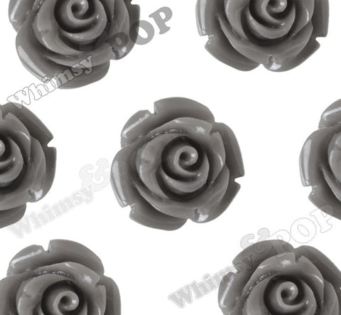 GRAY 12mm Rose Bud Flower Beads - WhimsyandPOP