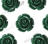 FOREST GREEN 12mm Rose Bud Flower Beads - WhimsyandPOP
