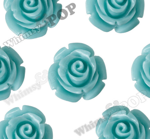 AQUA BLUE 12mm Rose Bud Flower Beads - WhimsyandPOP