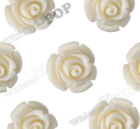 CREAM 12mm Rose Bud Flower Beads - WhimsyandPOP