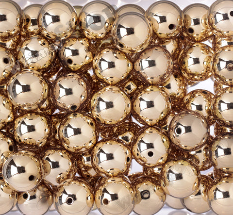 GOLD 20mm Platinum Metallic Gumball Beads - WhimsyandPOP