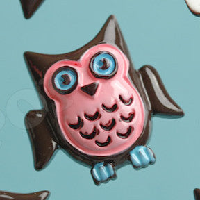 Pink and Brown Wise Owl Cabochons