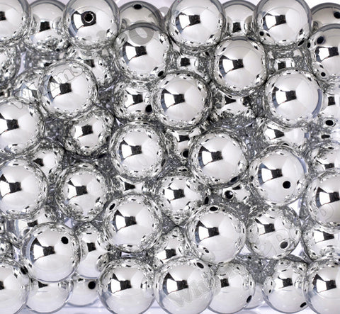 SILVER 20mm Platinum Metallic Gumball Beads - WhimsyandPOP