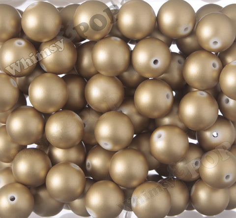 GOLD 20mm Matte Pearl Gumball Beads - WhimsyandPOP