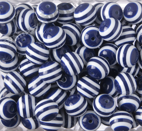 DARK BLUE 20mm Striped Gumball Beads - WhimsyandPOP