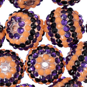 ORANGE + PURPLE + BLACK 20mm Striped Rhinestone Gumball Beads