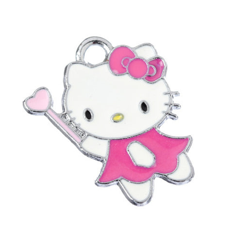 Fairy Princess Hot Pink Dress Kitty Silver Tone Charm - WhimsyandPOP