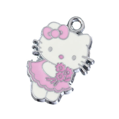 Flower Girl Pink Dress Kitty Silver Tone Charm - WhimsyandPOP