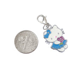 Flower Girl Blue Dress Kitty Silver Tone Charm - WhimsyandPOP