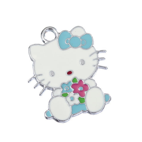 Blue Bow and Flowers Kitty Silver Tone Charm - WhimsyandPOP