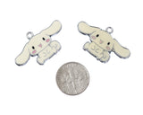 Cream White Bunny Rabbit with Long Ears Silver Tone Charm - WhimsyandPOP