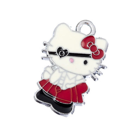 Eye Patch School Girl Red Dress Kitty Silver Tone Charm - WhimsyandPOP