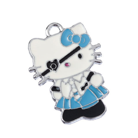 Eye Patch School Girl Blue Dress Kitty Silver Tone Charm - WhimsyandPOP