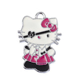 Eye Patch School Girl Pink Dress Kitty Silver Tone Charm - WhimsyandPOP