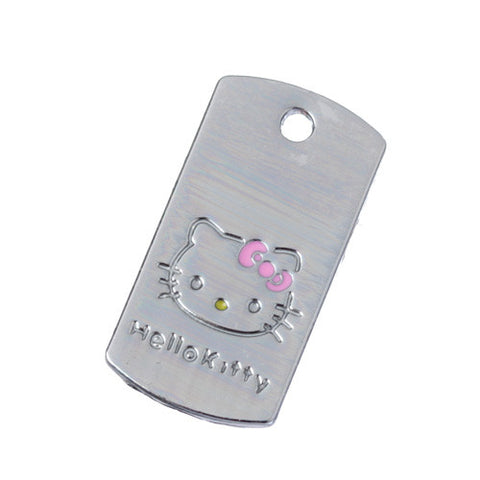 Dog Tag Pink Bow Kitty Silver Tone Charm - WhimsyandPOP