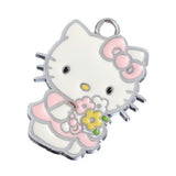 Flower Girl Light Pink Dress Kitty Silver Tone Charm - WhimsyandPOP