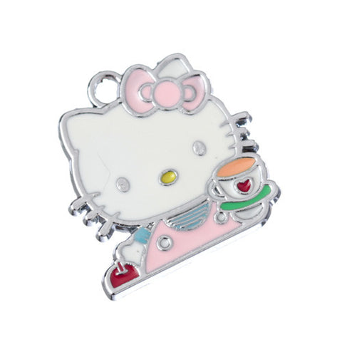 Cup of Tea Kitty Silver Tone Charm - WhimsyandPOP