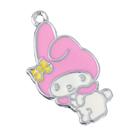 Rabbit with Pink Hat Yellow Bow Silver Tone Charm - WhimsyandPOP