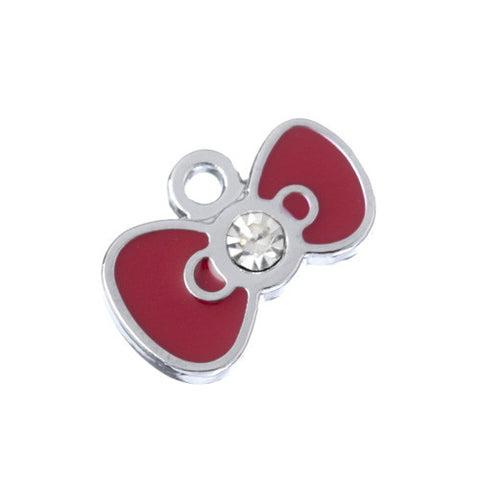 Red Kitty Bow Rhinestone Silver Tone Charm - WhimsyandPOP