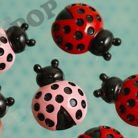 Pink and Red Speckled Ladybug Cabochons