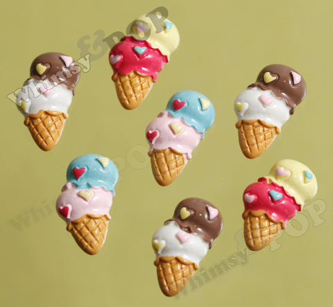 Mixed Color Double Scoop Ice Cream Cone Cabochons