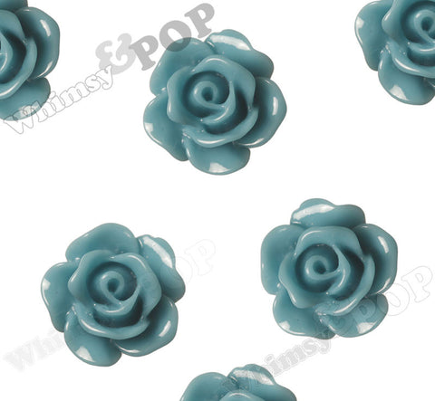 MIDNIGHT BLUE 10mm Small Detailed Flower Cabochons
