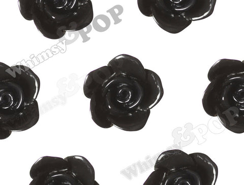 BLACK 17mm Flower Beads - WhimsyandPOP