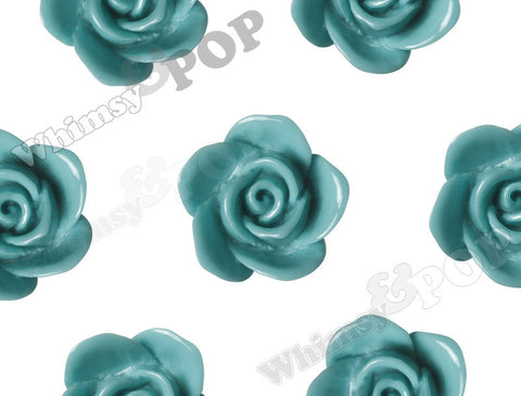 AQUA GREEN 17mm Flower Beads - WhimsyandPOP