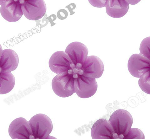 LILAC PURPLE 13mm Hibiscus Flower Cabochons