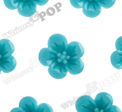TEAL GREEN 13mm Hibiscus Flower Cabochons - WhimsyandPOP