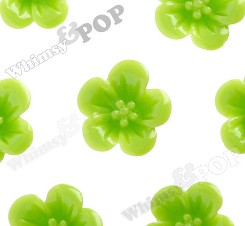 GREEN APPLE 13mm Hibiscus Flower Cabochons - WhimsyandPOP